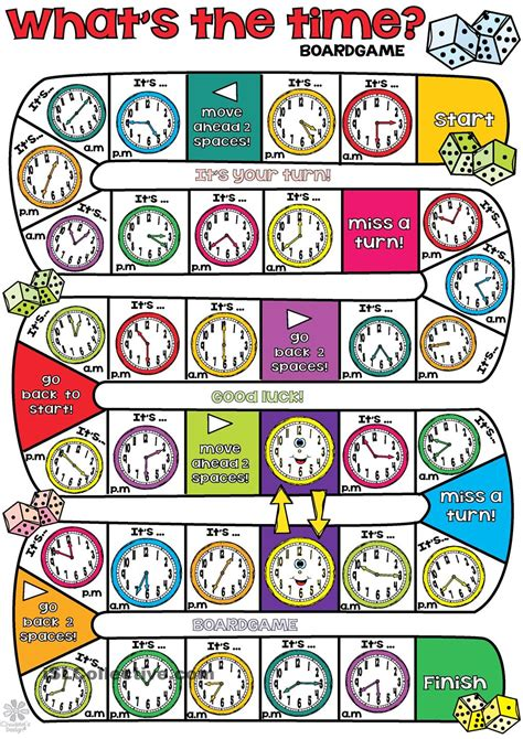 printable board games time whats the time boardgame englanti pinterest math