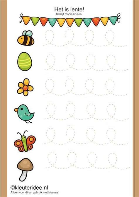 bloemen schrijven het is lente schrijfpatroon voor kleuters kleuteridee nl