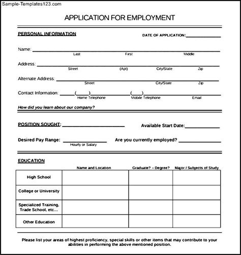 employee application form template employee application form sle sle templates