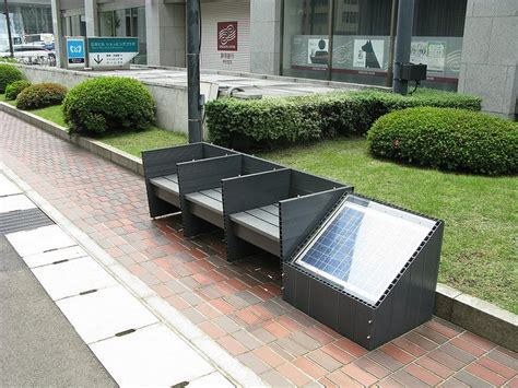 solar bench japanese quot eco bench quot with solar panel that energizes
