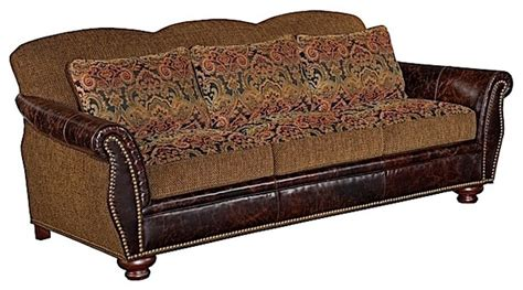 leather and tapestry sofa shadow mountain transitional tapestry sofa contemporary