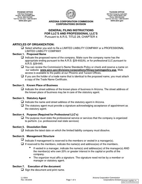 Llc Articles Of Organization Company Documents Articles Of Organization Template