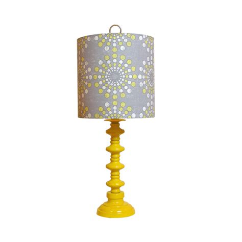 yellow and grey l shade vintage yellow l updatedcustom constructed shade covered