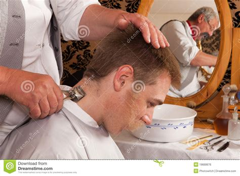 barber clipper happy victorian barber using clipper royalty free stock image