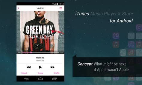itunes on android amazing itunes for android app concept images
