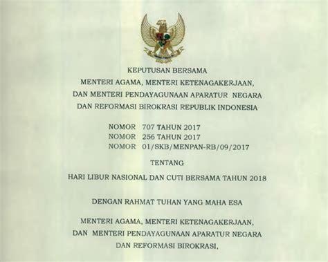 artikel peraturan menteri pendidikan nasional republik indonesia inilah hari libur nasional dan cuti bersama tahun 2018