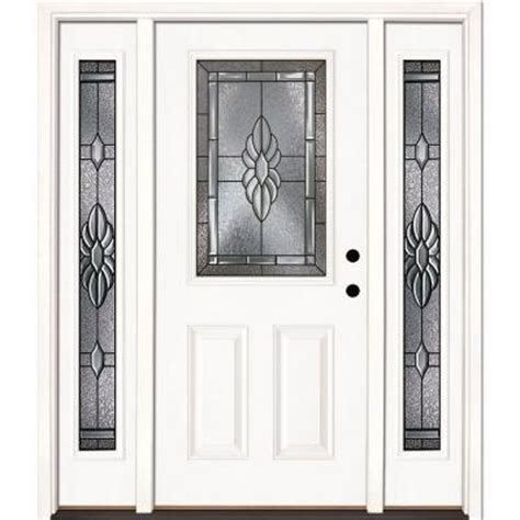 Home Depot Entry Doors With Sidelights by Feather River Doors 63 5 In X 81 625 In Sapphire Patina 1 2 Lite Unfinished Smooth Fiberglass