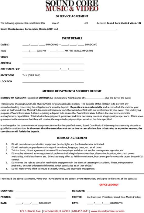 dj service contract template dj contract template for excel pdf and word
