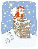 Chimney Painting Procedure - clip of santa is going the chimney u12557022