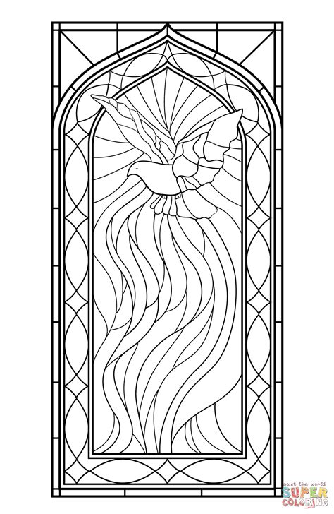 coloring book for windows stained glass window with holy spirit coloring page free