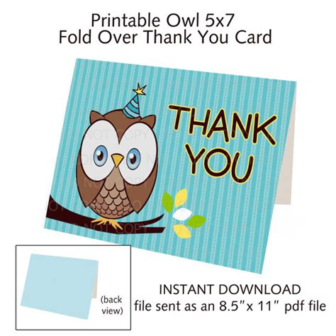 printable thank you cards foldable items similar to printable diy owl theme fold over thank