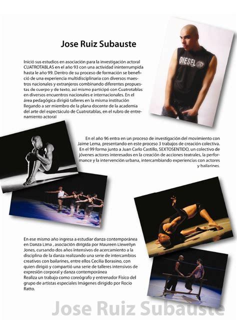 Modelo Curriculum Vitae Bailarina Jose Ruiz Subauste Actor Bailarin Coreografo Director Curric