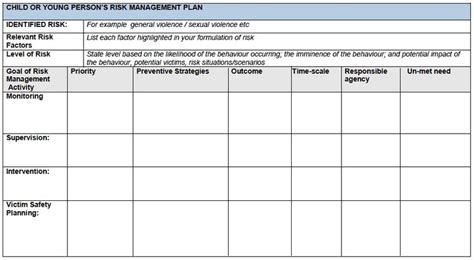 child protection risk assessment template templates of risk management plan search