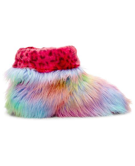 steve madden slippers steve madden snaglezz faux fur slippers for lyst