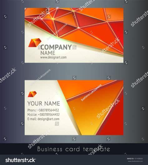 triangle shaped business card template orange triangle modern abstract business card stock vector