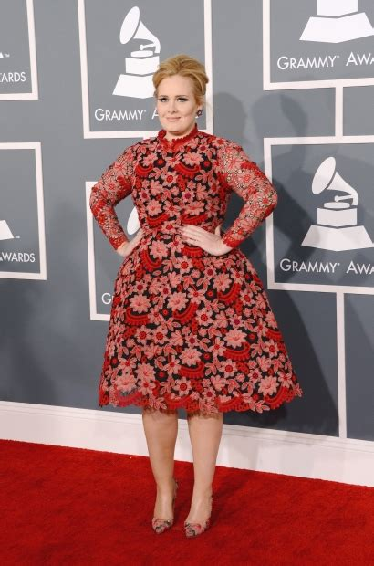 adele arrives at the 55th annual grammy awards at staples grammy awards red carpet fashion