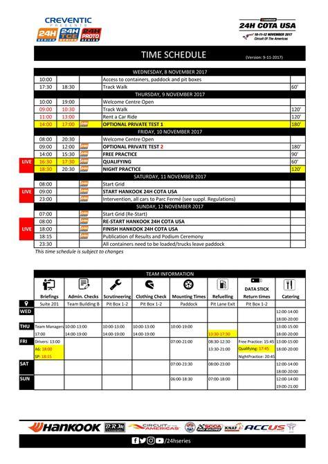 lifetime schedule 24h series 24h cota usa 2017