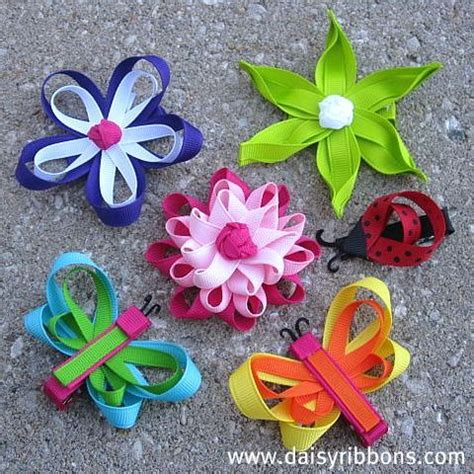 How To Make Handmade Hair Bows - handmade hair bows ribbon flowers and butterflies