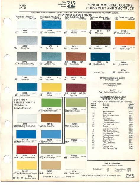 paint chips 1978 gmc chevy truck chevy