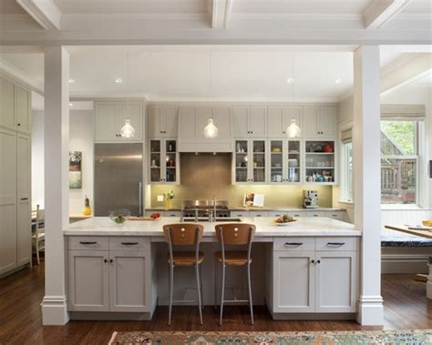 large open kitchen love the interior columns and the massive kitchen island also the wrap
