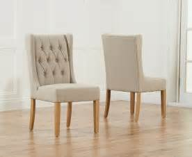 Fabric Dining Chairs Primo Oak Beige Fabric Dining Chairs Pair