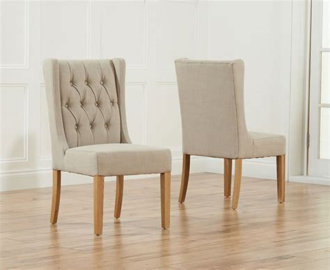 primo oak beige fabric dining chairs pair