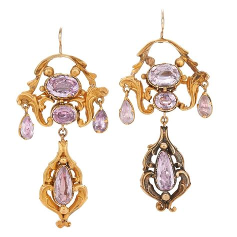 Georgian Yellow Gold Foiled Pink Topaz Chandelier Earrings Topaz Chandelier Earrings
