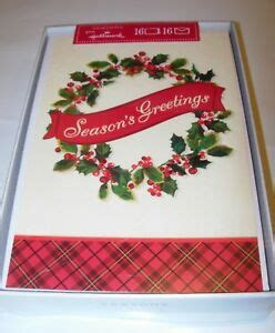 hallmark seasons  merry christmas cards envelopes holly wreath ebay