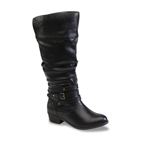 sears boots bongo s peyton black extended calf knee high slouch
