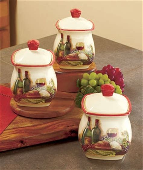 kitchen theme decor sets 3 pc vineyard canister set wine themed kitchen decor