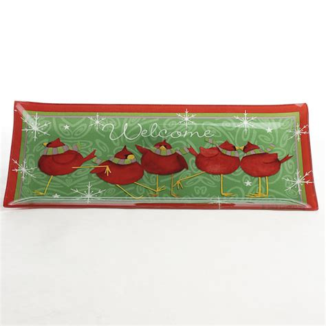 crafts direct for the holidays welcome to calling all cardinals welcome glass plate