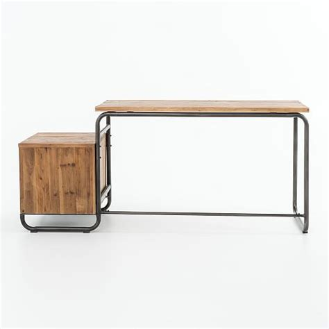 Wood Desk With Storage by Reclaimed Wood Storage Desk West Elm