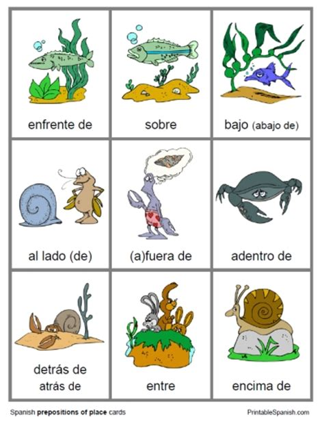 printable animal flashcards in spanish printable spanish freebie of the day prepositions of