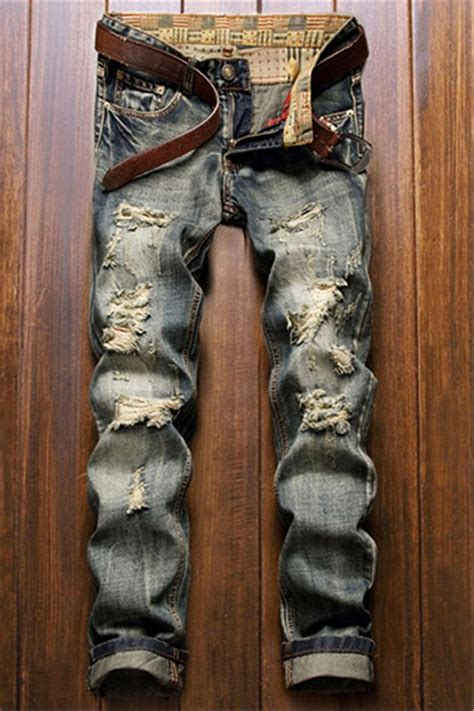 Boyfriend Ripped 31 34 Blue Destroy frayed zipper fly five pocket leg ripped