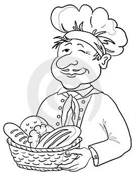 Ilustrácia(19080311): Baker s chlebom kôš, obrys. | Autor