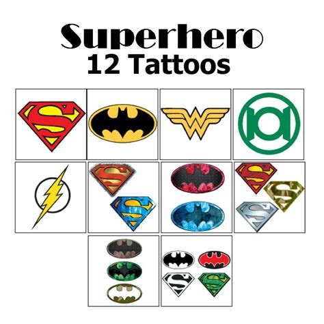 superhero temporary tattoos 12 dc comic icon temporary tattoos my cms