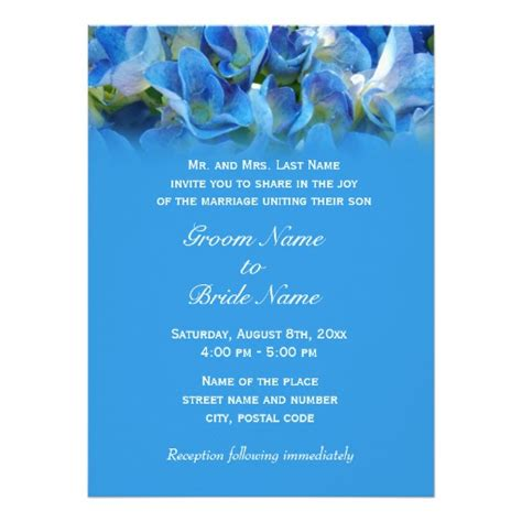 Wedding Invitation From Parents by Wedding Invitation From Groom S Parents Blue Zazzle