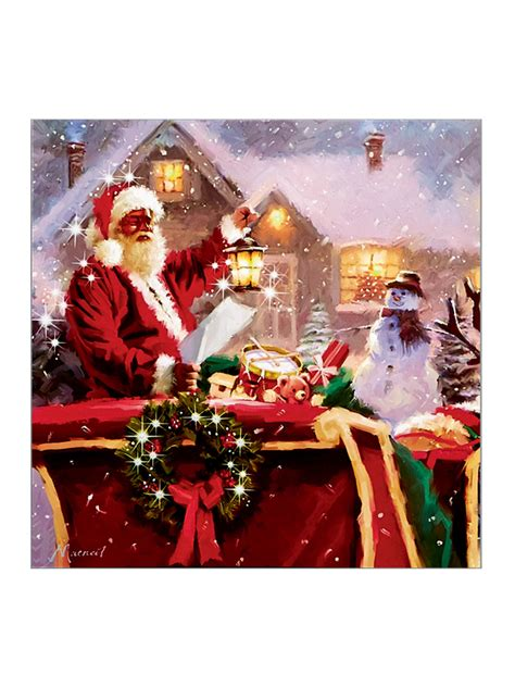 light up christmas canvas scene led fibre optic picture
