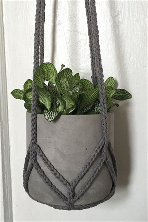 Plant Hanger Pattern - items similar to crochet plant hanger grey chevron on etsy