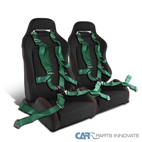 green racing seats t r black cloth stitch sport racing seats camlock belt