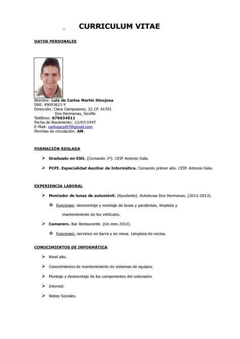 Modelo Curriculum Camarero En Ingles Calam 233 O Curriculum Vitae