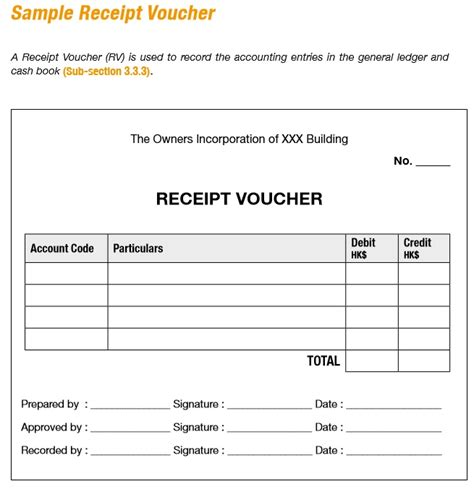 template for a voucher 9 free sle receipt voucher templates printable sles