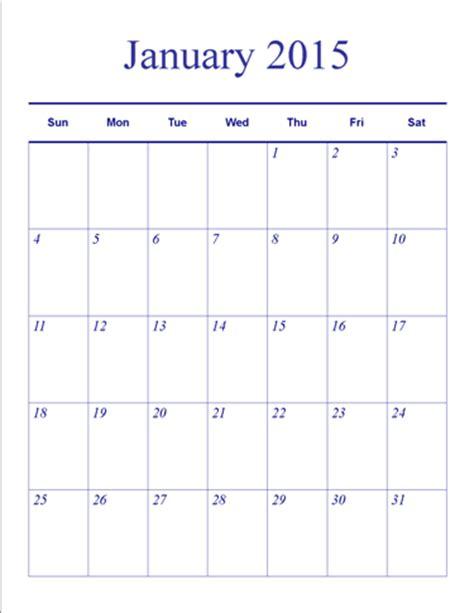 Blank Vertical Calendar Template