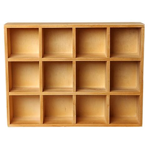 Compartment Shelf wooden freestanding wall mounted 12 compartment shadow