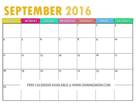 September Kalender 2016 All Lovely Free September 2016 Calendars