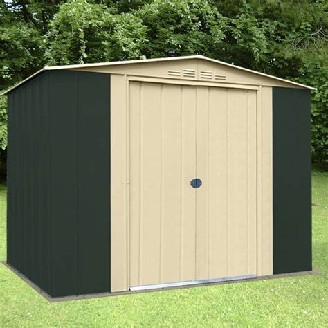 metal apex garden shed 8 x 7ft in green and homegenies