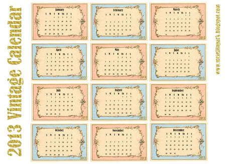 printable planner cards free printable 2013 calendar in vintage design monthly