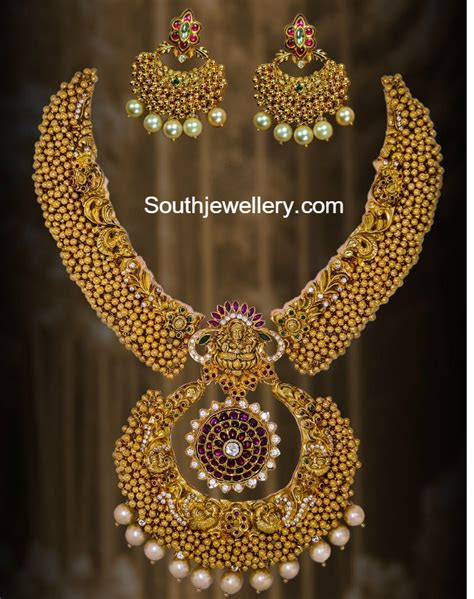 antique ghungroo necklace set jewellery designs - Jewellery Gold Design Angti