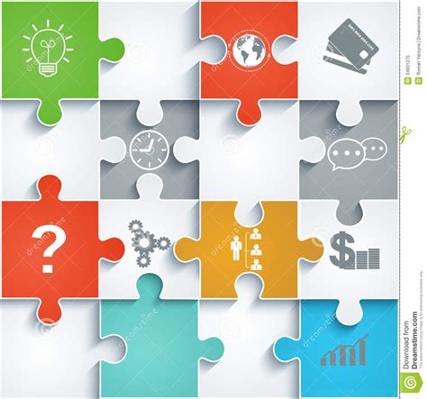 layout puzzle vector parts of paper puzzles with icons business concep stock