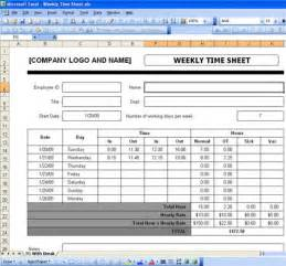 Payroll Time Sheets Template by Excel Timesheet Templates Free